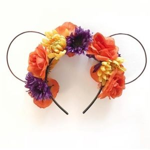 Halloween Inspired Flower Crown Mouse Ears